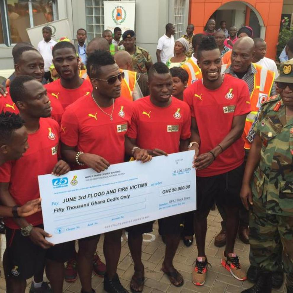 Black Stars players donate 50, 000 cedis to flood victims