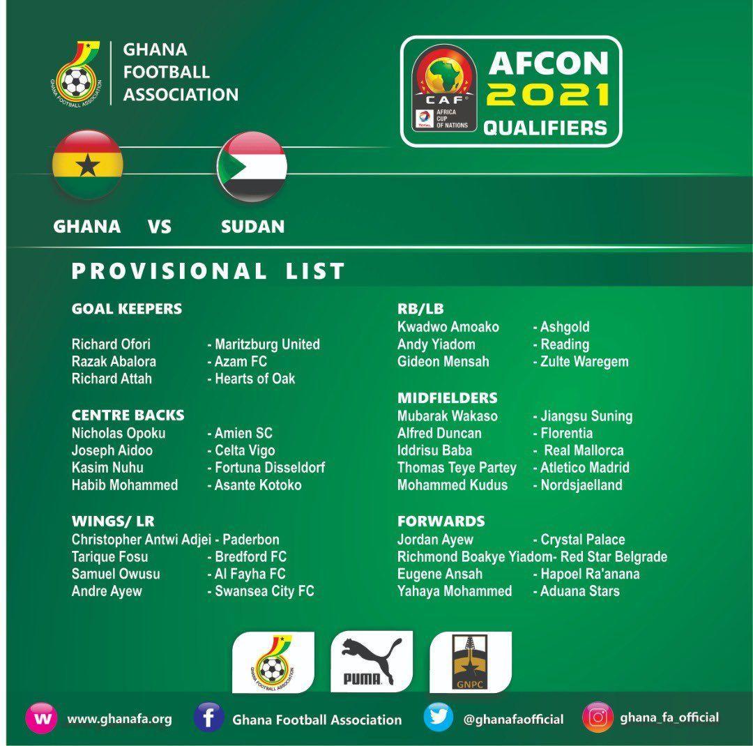 Akonnor names Ghana squad for Sudan games