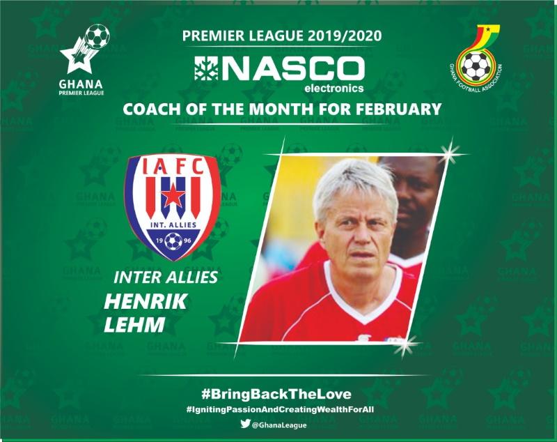 2019/20 GPL: Henrik Lehm wins February NASCO Coach of the Month award