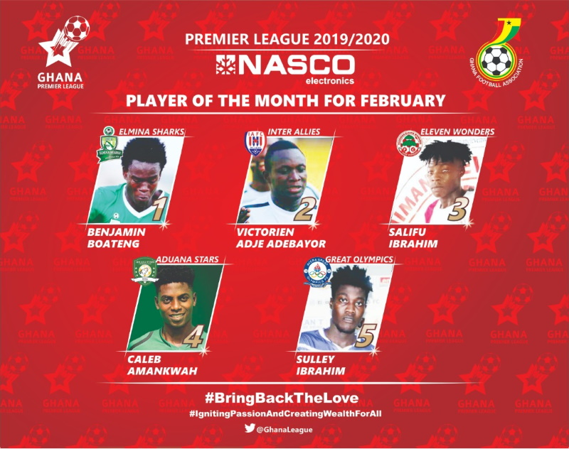 2019/20 GPL: February NASCO Player of the Month nominees