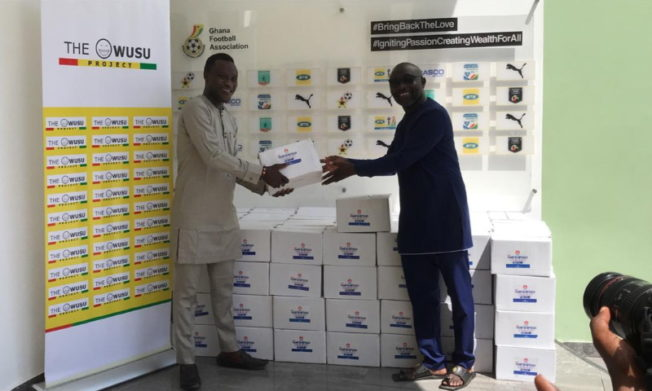 GFA receives hand sanitizers from Samuel Owusu