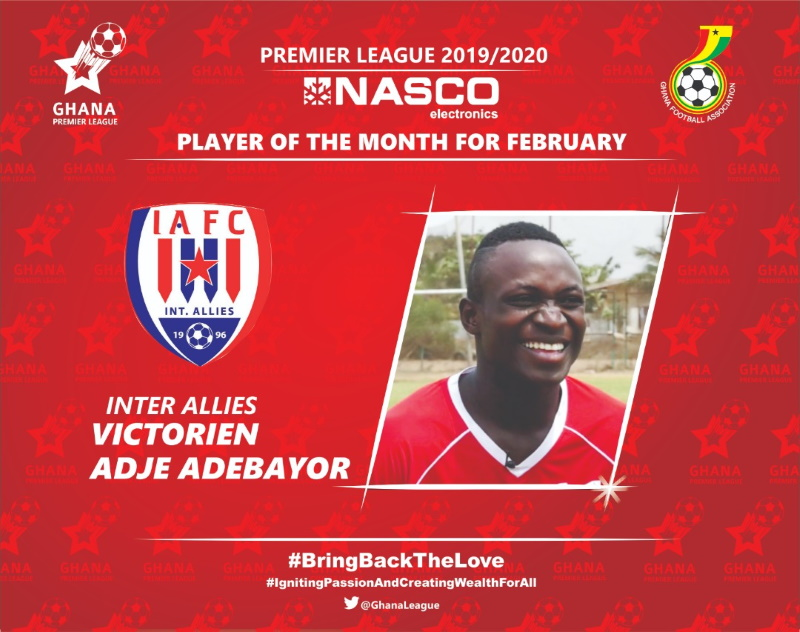 2019/20 GPL: Adebayor is February NASCO Player of the Month