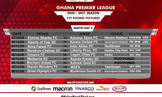 2020/21 season: Rescheduling of Match Day Four fixtures