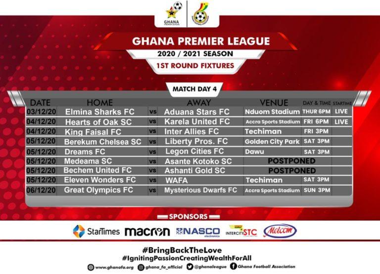 2020/21 season: Rescheduling of Match Day Four fixtures