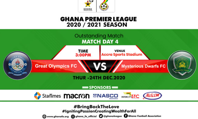 Outstanding match between Great Olympics & Ebusua Dwarfs to be played on Thursday