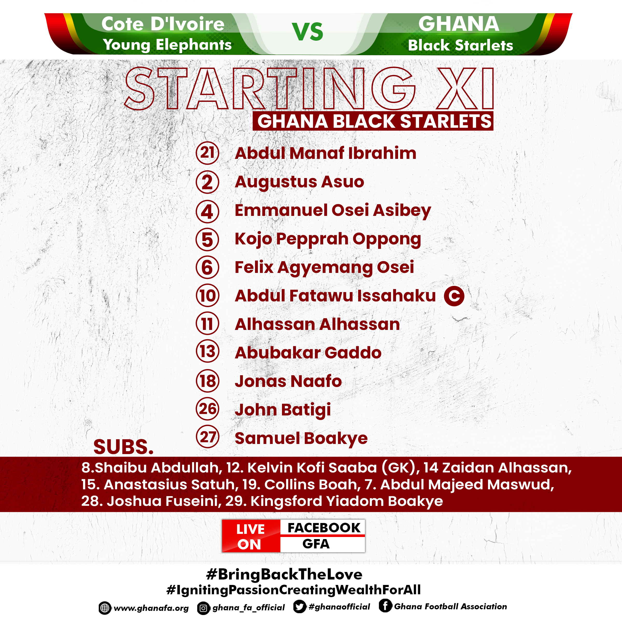 WAFU Cup of Nations: Coach Ben Fokuo makes one change to team for Cote D'Ivoire clash