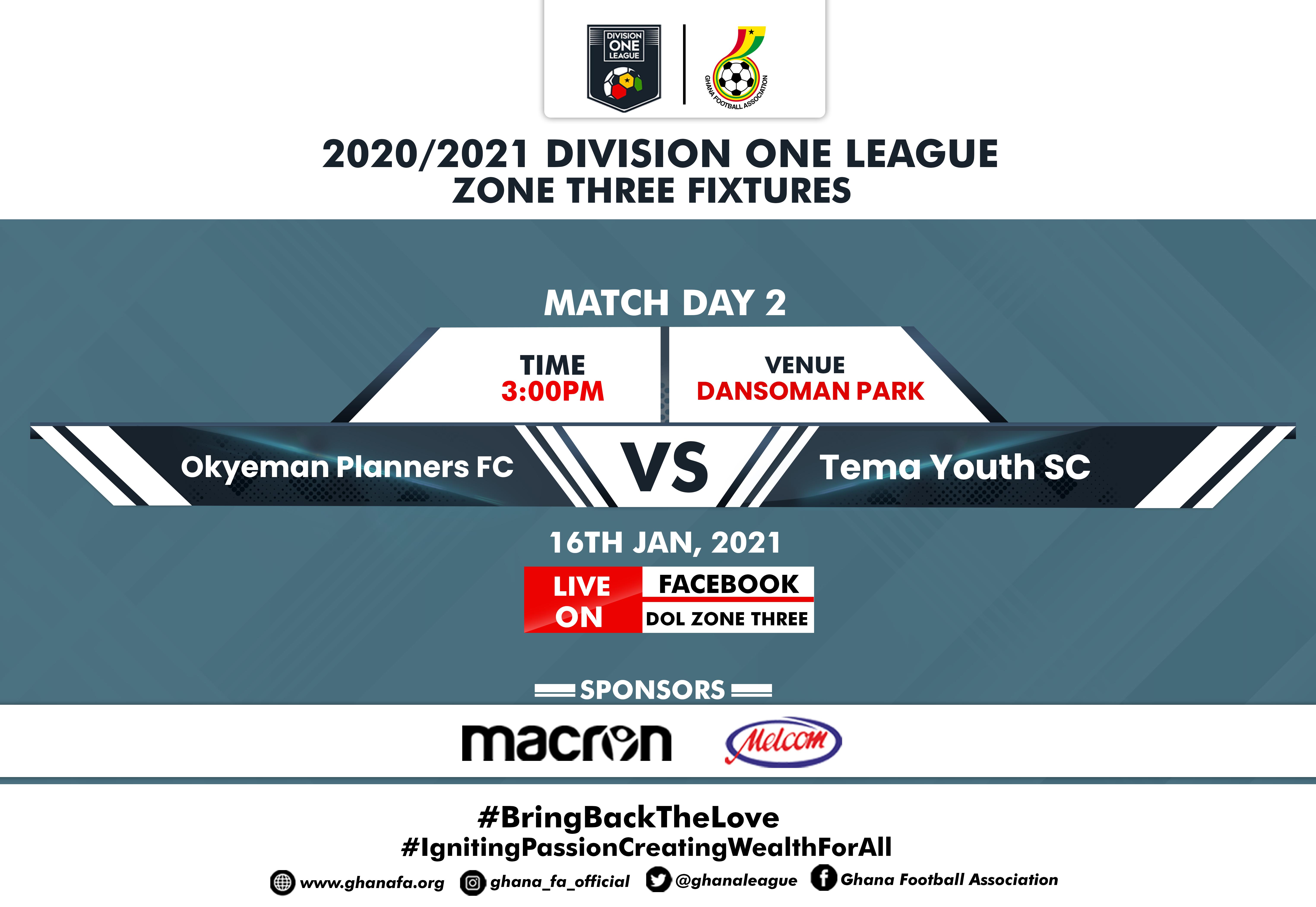 Okyeman Planners battle Tema Youth Sunday - Zone Three fixtures