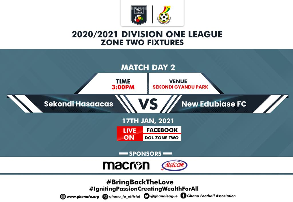 Sekondi Hasaacas host New Edubiase United in Zone Two - Match day two fixtures