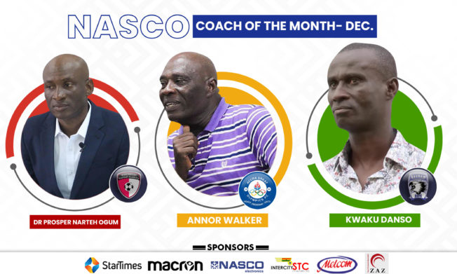 Nominees for NASCO GPL Coach of the Month -December