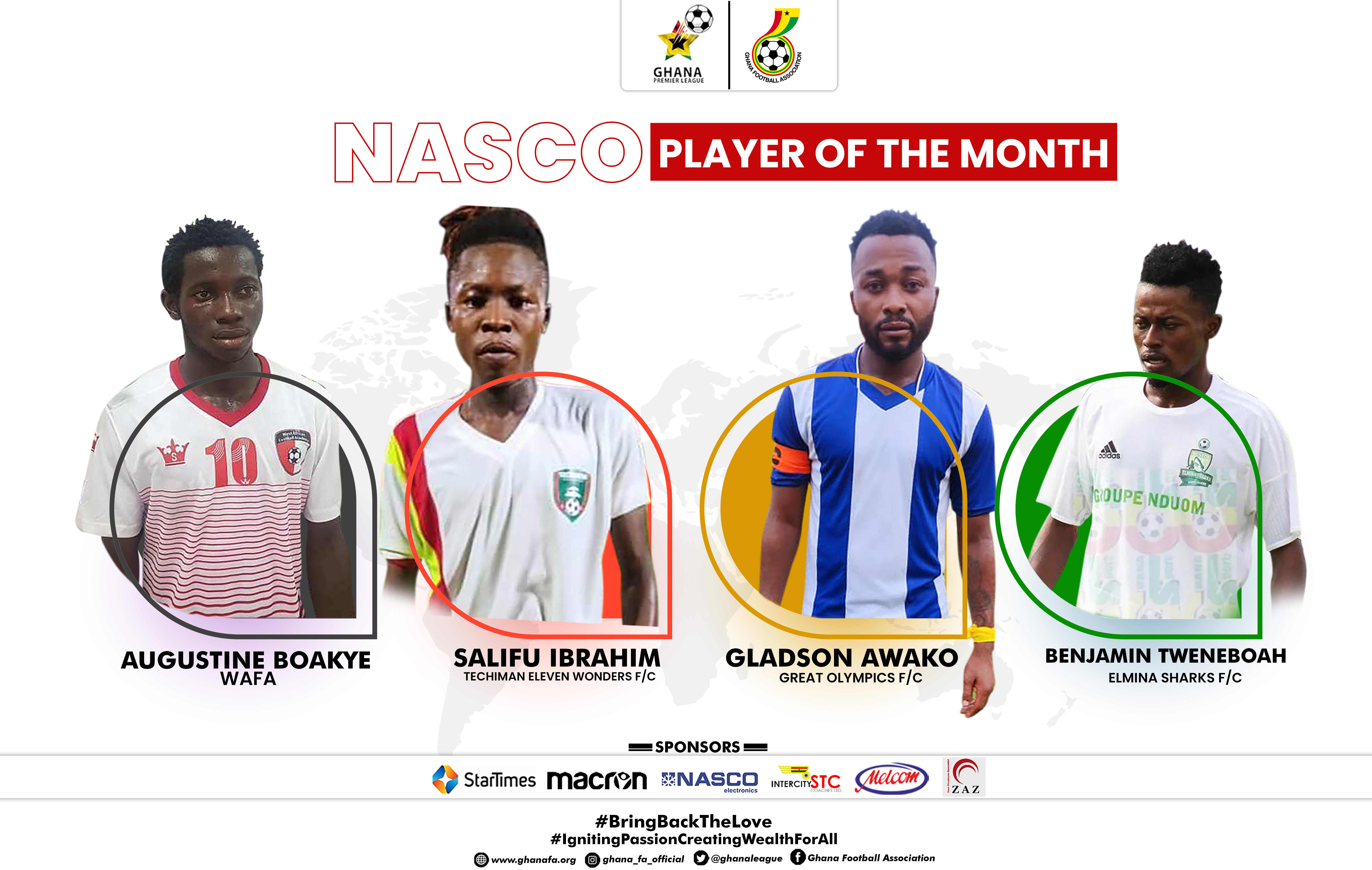 Four-man shortlist for NASCO Player of the Month -December