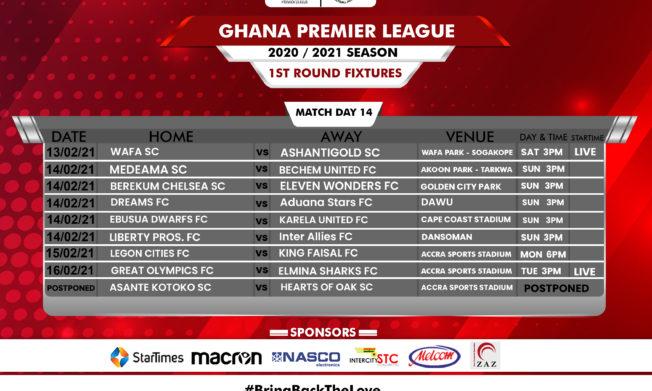 Announcement: Adjustment to match day 14 fixture list