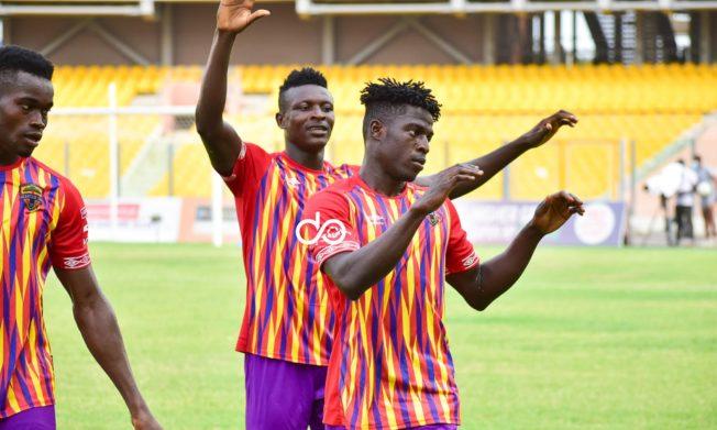 Victor Aidoo brace powers Hearts of Oak to hard fought win against Ebusua Dwarfs