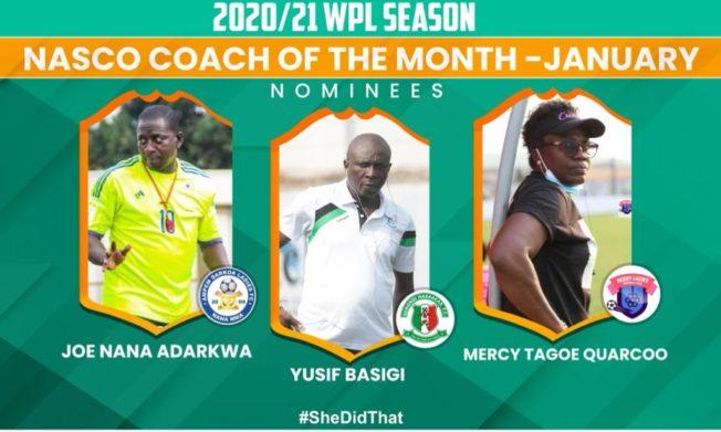 Mercy Tagoe, Basigi & Joe Adarkwa nominated for Nasco Coach of the Month Award - January