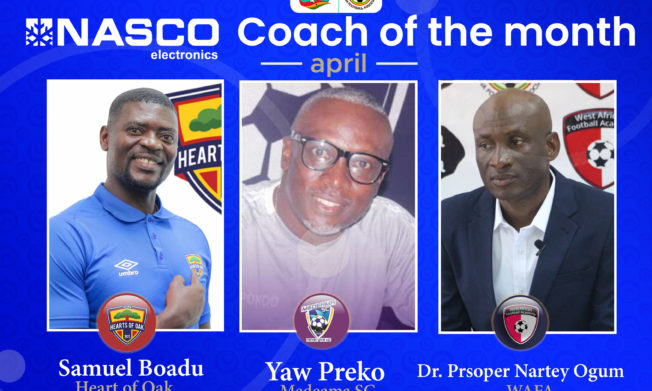 Nominees for NASCO Coach of the Month - April