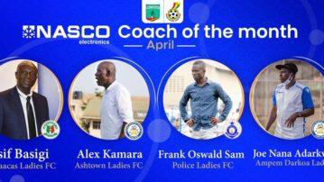 Basigi, Adarkwa, Oswald and Kamara shortlisted for NASCO coach of the Month for April