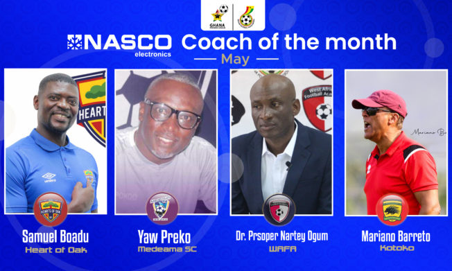 Four Coaches shortlisted for NASCO Coach of the Month-May