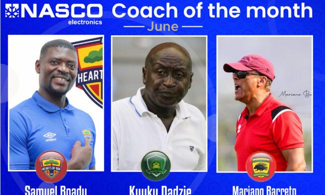 Premier League Coach of the month for June – Dadzie, Boadu, Baretto nominated