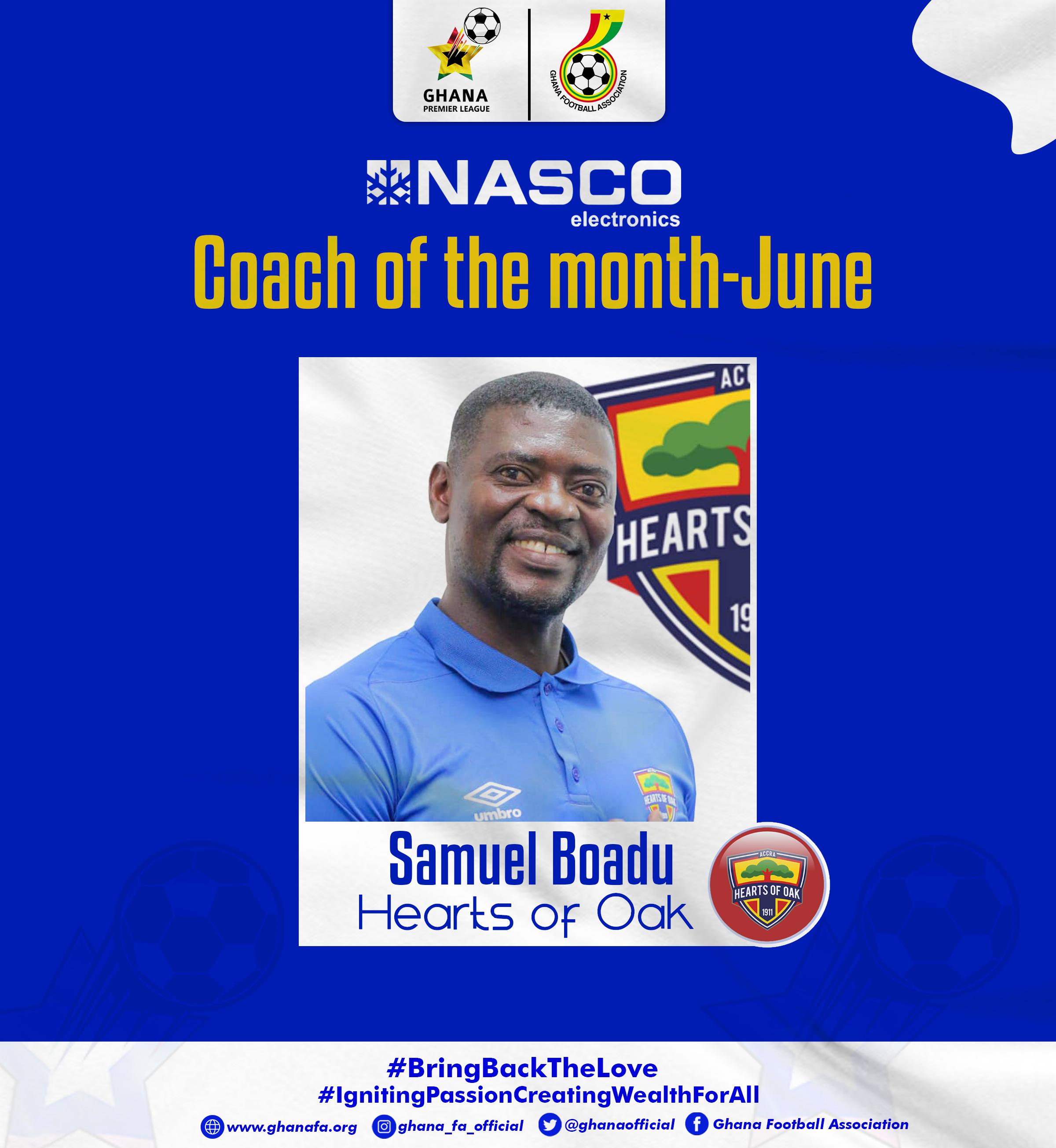 Samuel Boadu named NASCO GPL Coach of the Month for June