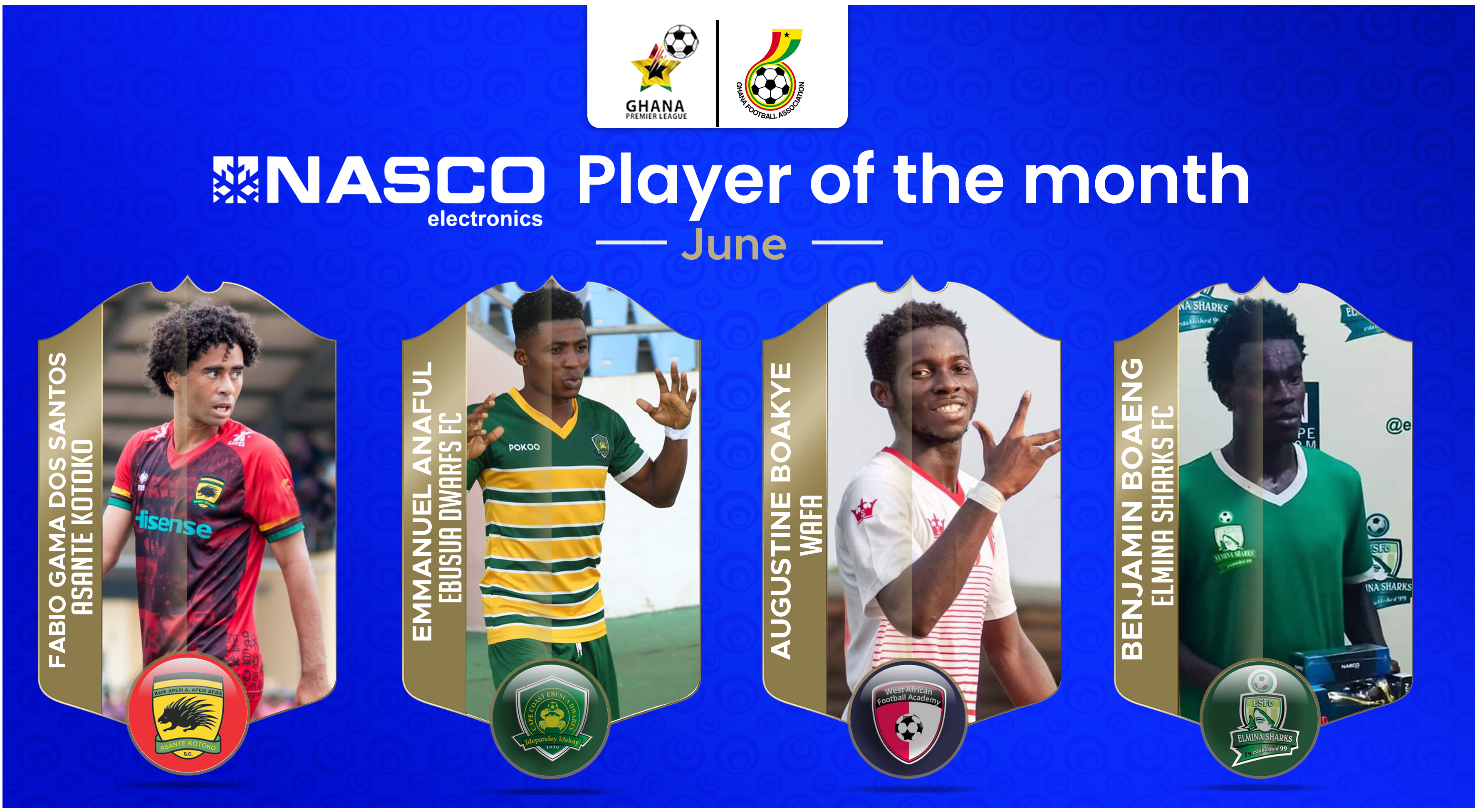 Boakye, Gama, Anaful and Boateng earn NASCO player of the month nomination
