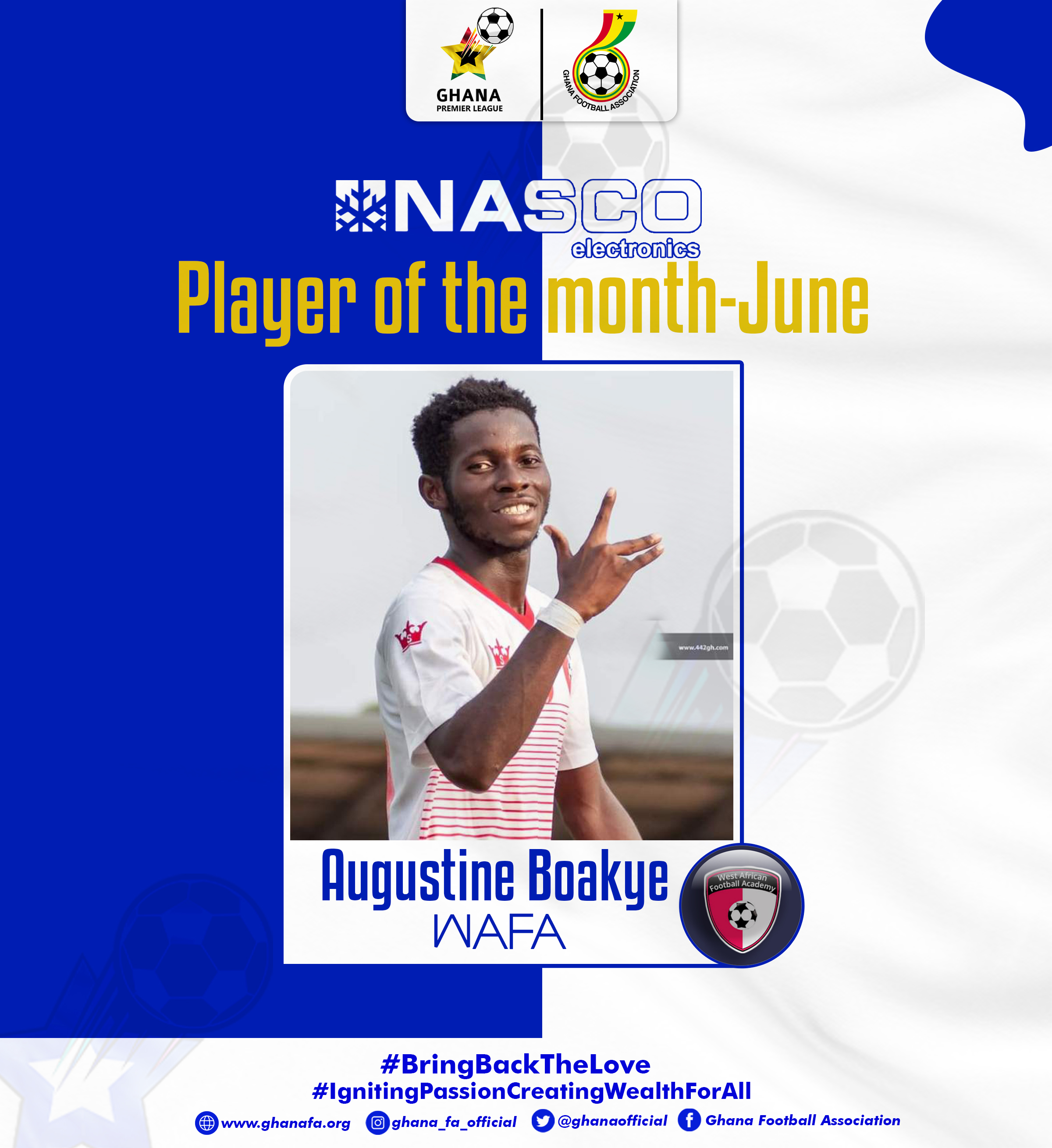 Augustine Boakye wins NASCO GPL Player of Month for June