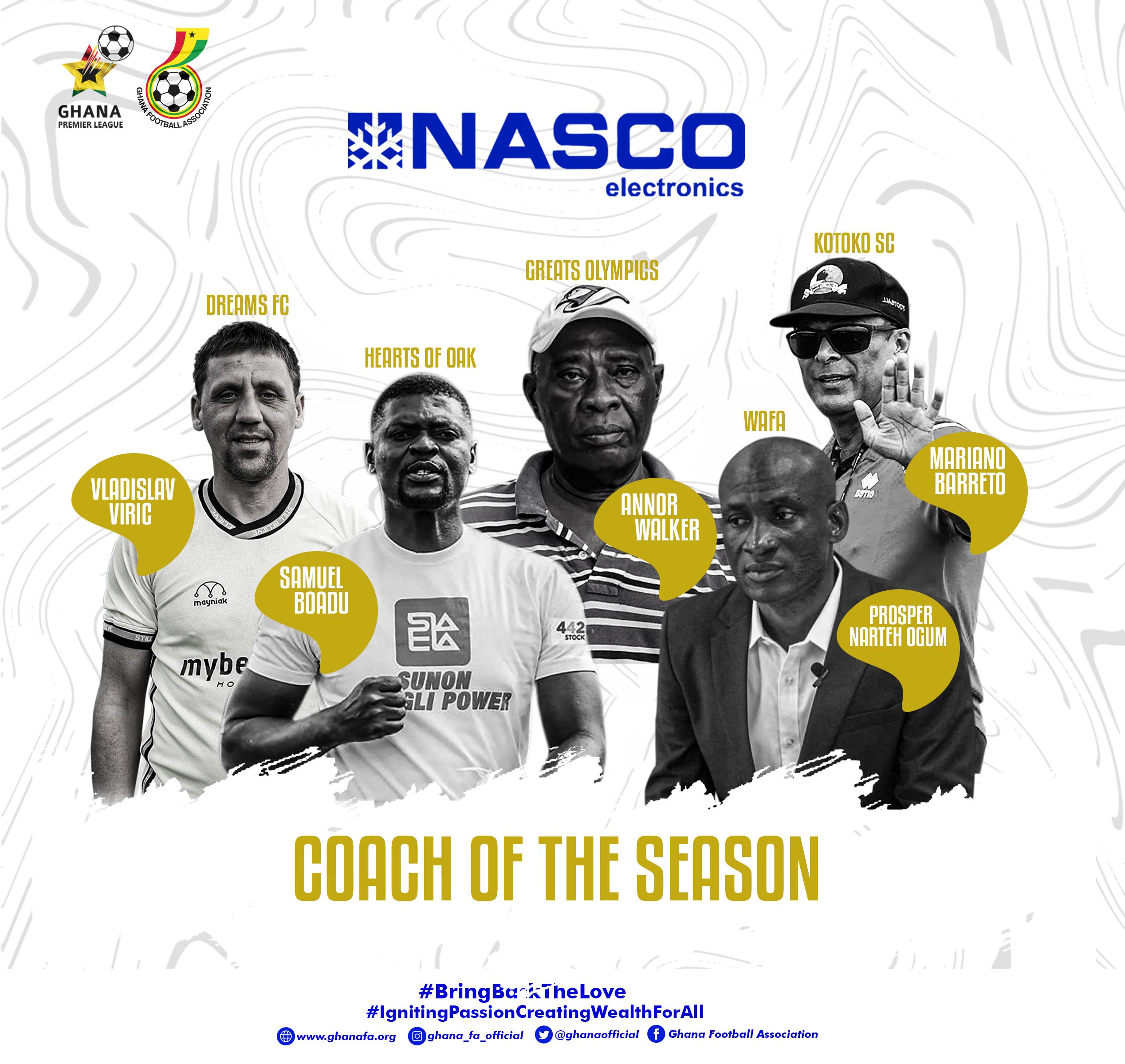 Five Coaches nominated for NASCO Coach of the Season Award