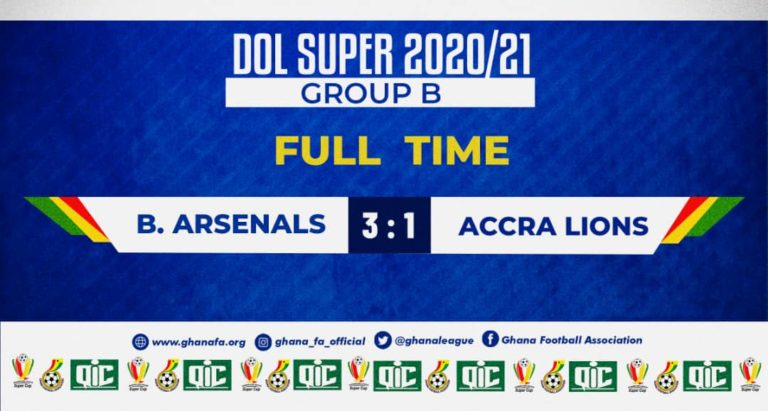 Division One League Super Cup: Ten-man Berekum Arsenal beat Accra Lions to keep semi-final hopes alive